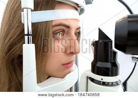 Young Woman During Eyes Examination