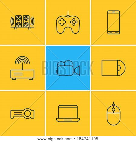 Vector Illustration Of 9 Hardware Icons. Editable Pack Of Joypad, Smartphone, Camcorder And Other Elements.
