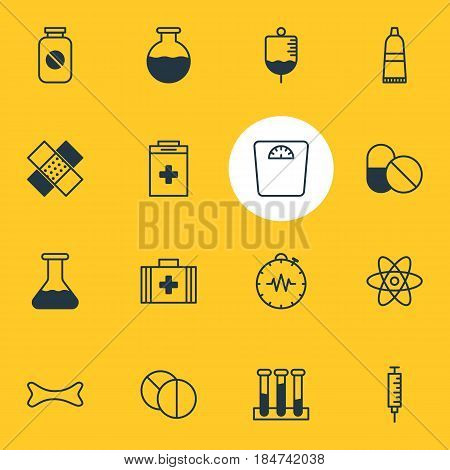 Vector Illustration Of 16 Medical Icons. Editable Pack Of Vial, Antibody, Vaccinator And Other Elements.