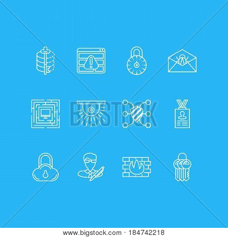 Vector Illustration Of 12 Protection Icons. Editable Pack Of Safeguard, Browser Warning, Network Protection And Other Elements.