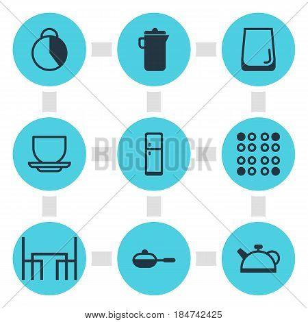 Vector Illustration Of 9 Kitchenware Icons. Editable Pack Of Teakettle, Coffee Cup, Cooker And Other Elements.