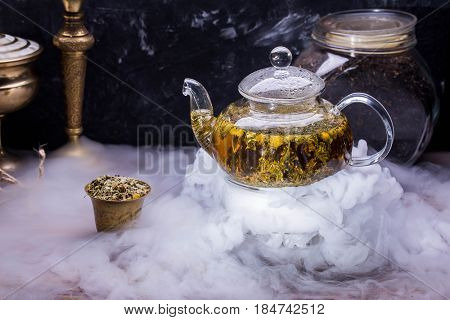 Tea on the basis of the Lebanese herbs, a mountain thyme, a melissa and a camomile