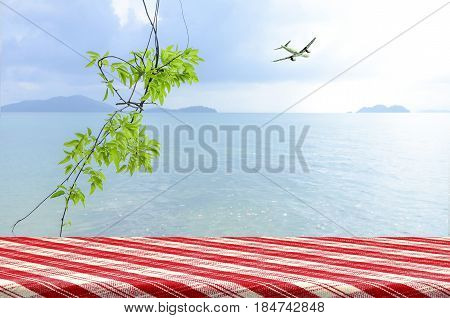 Vacation Background At The Seaside With Picnic Table.