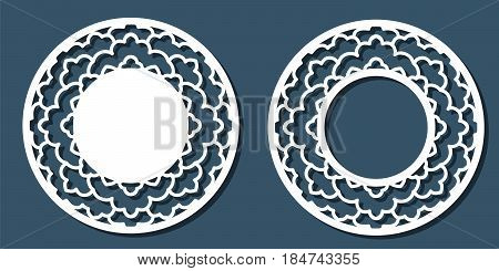 Vector Stencil lacy round frame with carved openwork pattern. Template for interior design decorative art objects etc. Image suitable for laser cutting plotter cutting or printing. Stock vector