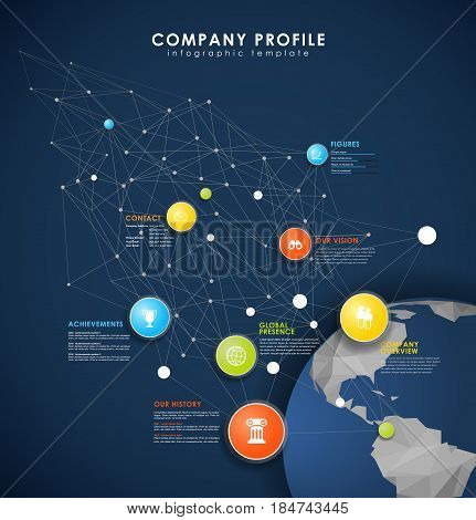 Company profile overview template with colorful circles dots and polygonal globe - dark version.