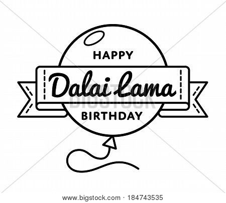 Happy Dalai Lama Birthday emblem isolated vector illustration on white background. 6 july tibetan buddhistic holiday event label, greeting card decoration graphic element