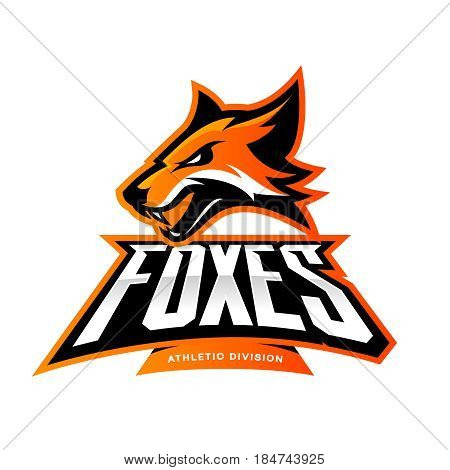 Furious fox sport club vector logo concept isolated on white background. Modern professional team badge mascot design. Premium quality wild animal athletic division t-shirt tee print illustration.
