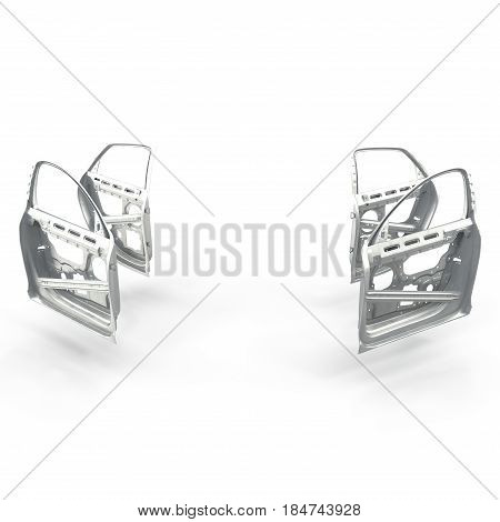 Car Door Frames on white background. 3D illustration