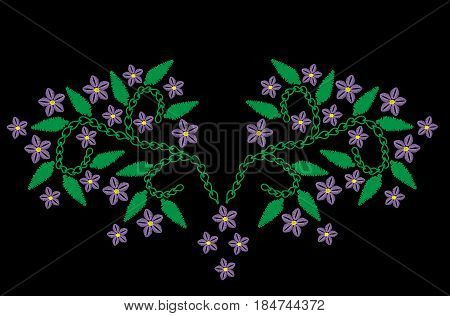 Violet flower with leaf branch embroidery stitches imitation. Floral pattern for neck line on black background. Embroidery vector.