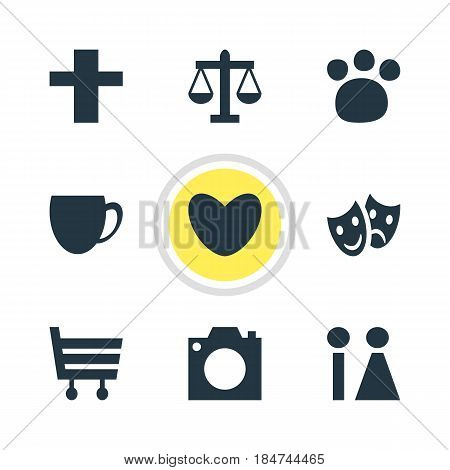 Vector Illustration Of 9 Check-In Icons. Editable Pack Of Heart, Toilet, Scales And Other Elements.