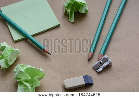 Pencils, Sharpener, Eraser, Stickers, Brown Paper With Crumpled Sticky Notes, Creative Crisis, Loss