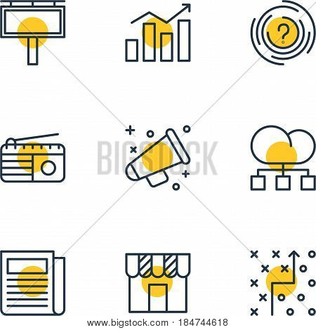 Vector Illustration Of 9 Social Icons. Editable Pack Of Tactical Plan, Cloud Distribution, Maze And Other Elements.