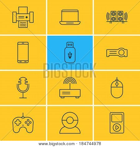 Vector Illustration Of 12 Gadget Icons. Editable Pack Of Loudspeaker, Joypad, Photocopier And Other Elements.