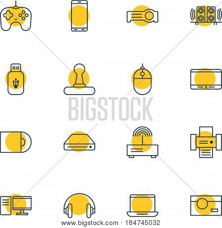 Vector Illustration Of 16 Technology Icons. Editable Pack Of Cursor Controller, Modem, Joypad And Other Elements.