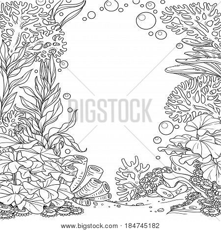 Underwater world with corals seaweed and anemones outlined isolated on white background