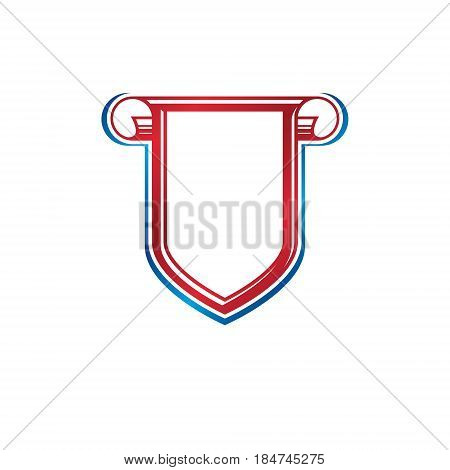 Blank vintage emblem with copy-space vintage heraldic design. Decorative protection shield created with cartouche.