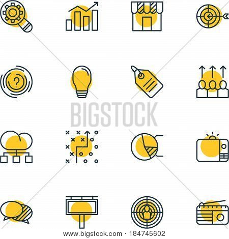 Vector Illustration Of 16 Ad Icons. Editable Pack Of Statistics, Goal, Circle Diagram And Other Elements.