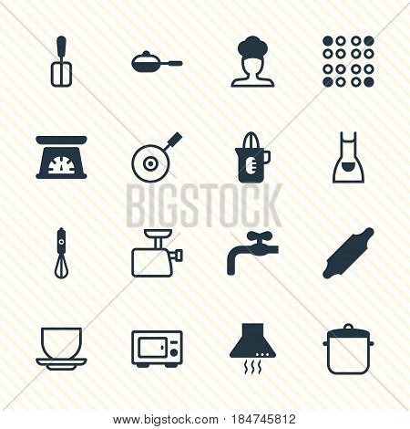 Vector Illustration Of 16 Restaurant Icons. Editable Pack Of Smock, Skillet, Cooking Spade And Other Elements.
