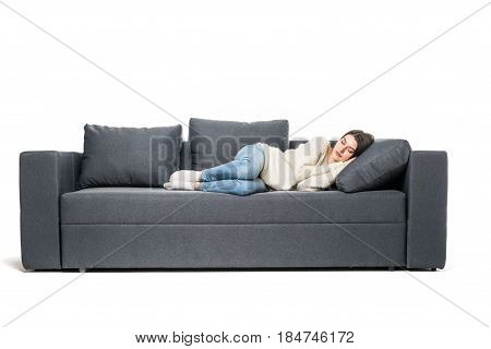 Portrait Of Beautiful Young Woman Sleeping On Couch