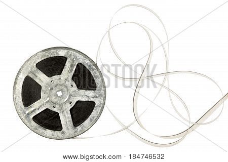 Film reel isolated on white with copy space