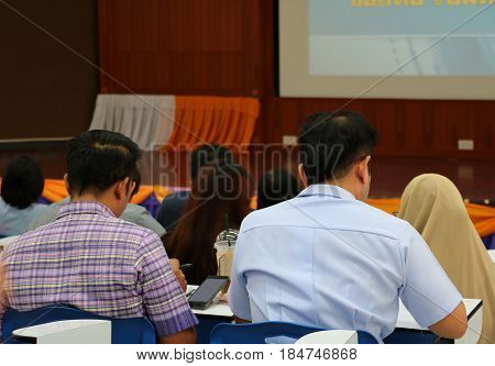 closeup business education seminar training conference in meeting room