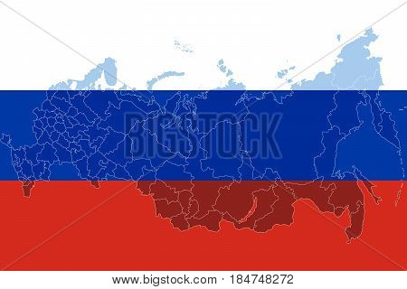 Russia flag with russia map. Isolated on white background. Vector illustration.