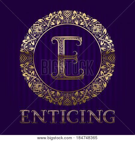 Golden logo template for enticing boutique. Vector monogram.