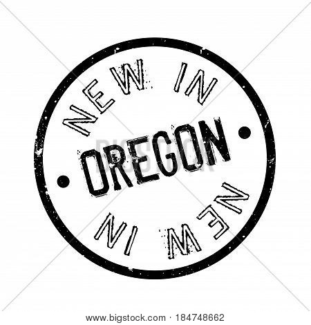 New In Oregon rubber stamp. Grunge design with dust scratches. Effects can be easily removed for a clean, crisp look. Color is easily changed.