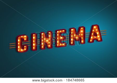 3d retro cinema sign with electric bulb. Vector illustration.