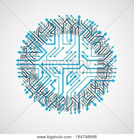 Round circuit board with electronic components of technology device. Computer motherboard cybernetic blue vector abstraction with multidirectional arrows.