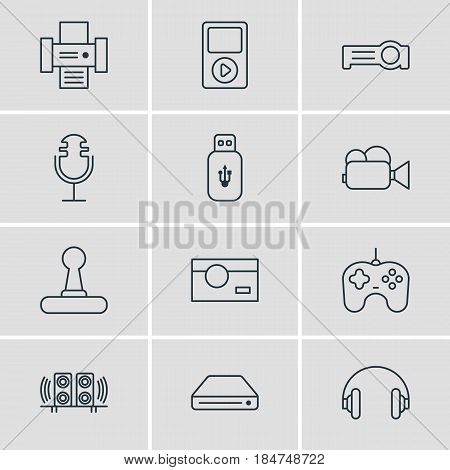 Vector Illustration Of 12 Accessory Icons. Editable Pack Of Media Controller, Game Controller, Photocopier And Other Elements.