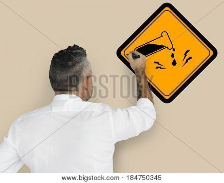 Studio Senior Man Shoot Chemical Danger Sign Attention Banner