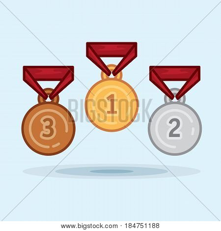 Vector illustration set medal winner award champion. Illustration victorious gold medal, silver medal, bronze medal
