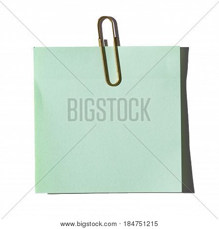 The blue sticker with a silver paperclip isolated on white background.