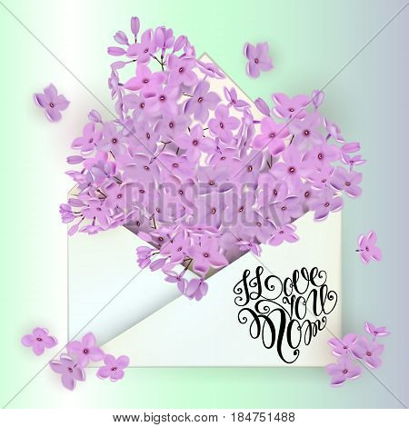 Happy Mothers Day Lettering. Mothers Day Greeting Card With Roses Flowers. Vector Illustration