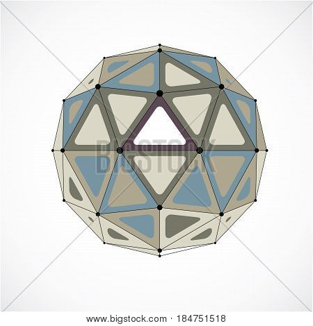 3d vector low poly spherical object with black connected lines and dots geometric monochrome wireframe shape. Perspective orb created with triangular facets.