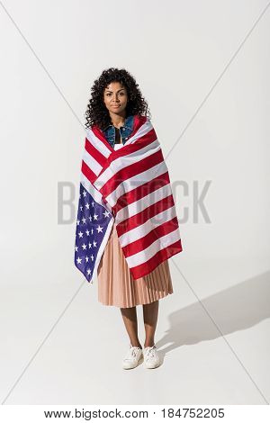 Woman Cowered With American Flag