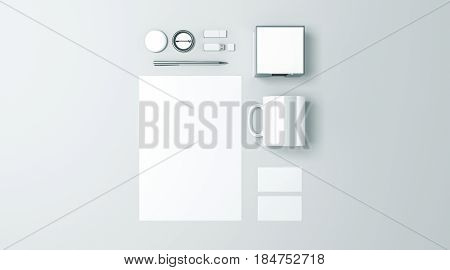 Blank white office stationery set mockup isolated 3d rendering. Empty corporate branding identity mock ups presentation. Clear space work supplies template for logo design top view elements.