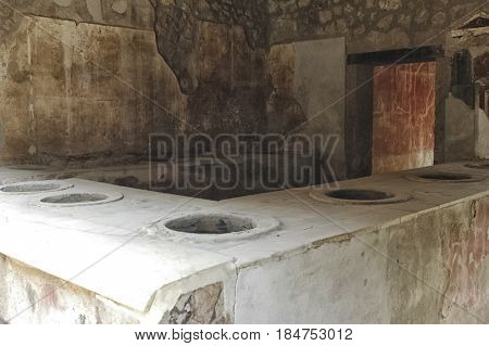 Interior view of a bakery of Pompei
