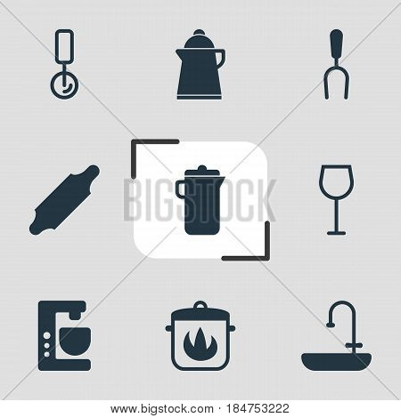 Vector Illustration Of 9 Cooking Icons. Editable Pack Of Round Slicer, Wine, Mixer And Other Elements.