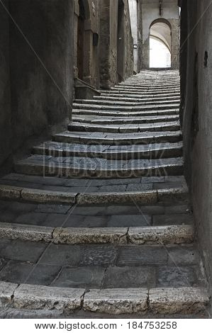 View of stairs in an Italian old town