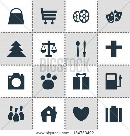 Vector Illustration Of 16 Map Icons. Editable Pack Of Masks, Shopping Cart, Photo Device And Other Elements.