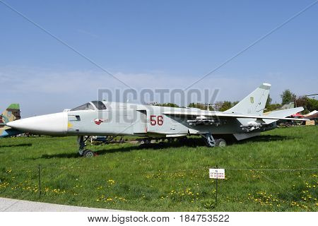 Ukraine, Kiev - May 2, 2017: Su-24 Fencer front bomber, State Aviation Museum, Old Car Land Festival Spring-2017