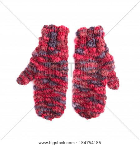 Pair Of Red Mohair Gloves