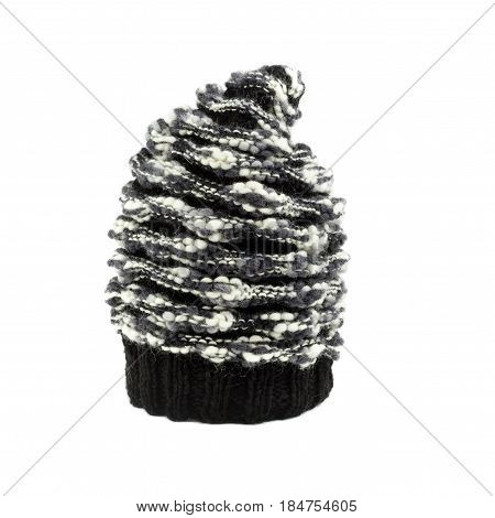 Mohair Black And White Winter Hat