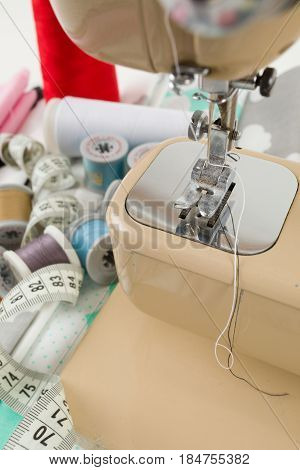 Sewing Machine, Fabric And Measurement Tape