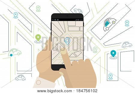 Mobile navigation and location app, car to share app, gps app concept