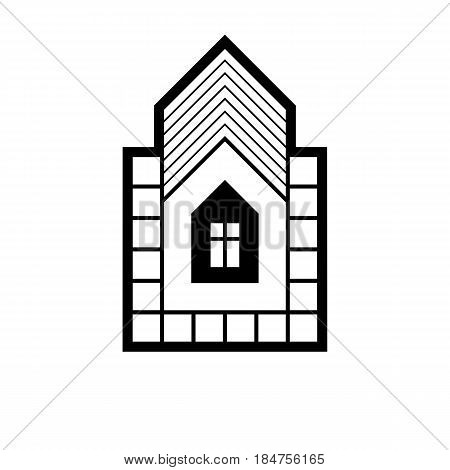 Real estate simple business vector icon isolated on white background abstract house depiction. Property developer symbol conceptual sign best for use in advertising and branding.