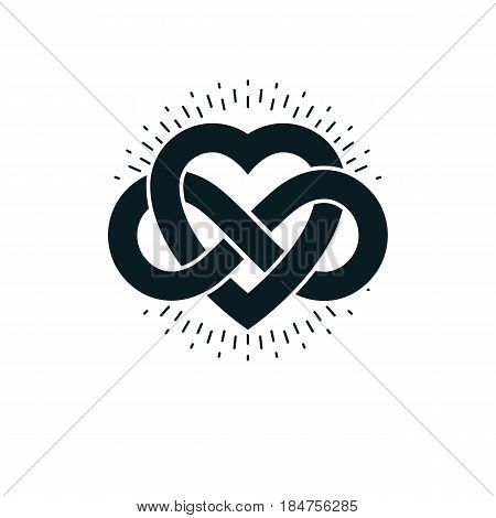 Timeless Love concept vector symbol created with infinity loop sign and heart.
