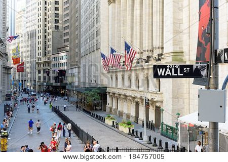 The New york Stock Exchange on the Wall street on June 25, 2016 in New York, NY.